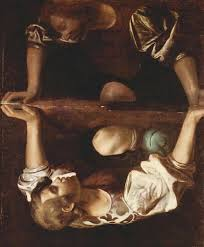 Narcissus gazes at his own reflection in the water by Caravaggio